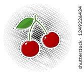 red cherry sticker on pop art...   Shutterstock .eps vector #1249226434