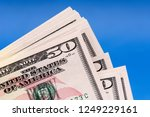 close up stack of fifty 50... | Shutterstock . vector #1249229161