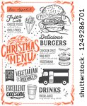 christmas menu template for... | Shutterstock .eps vector #1249286701
