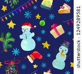funny christmas seamless... | Shutterstock .eps vector #1249289581