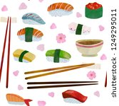 nice sushi with chopsticks and... | Shutterstock .eps vector #1249295011