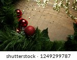 golden sparkles on wooden... | Shutterstock . vector #1249299787