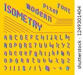 pixel isometric font. 8 bit... | Shutterstock .eps vector #1249301404
