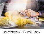 modern way of exchange. bitcoin ... | Shutterstock . vector #1249302547