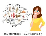 the girl thinks where to go on... | Shutterstock .eps vector #1249304857