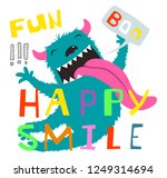 crazy monster funny character... | Shutterstock .eps vector #1249314694