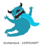 crazy monster showing tongue... | Shutterstock .eps vector #1249314697