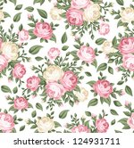 Stock vector seamless pattern with pink and white roses vector illustration 124931711