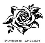 black silhouette of rose with...   Shutterstock .eps vector #124932695