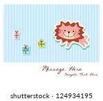baby lion gift card | Shutterstock .eps vector #124934195