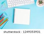 blank notebook with keyboard...   Shutterstock . vector #1249353931