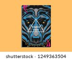 cover layout with grizzly model ... | Shutterstock .eps vector #1249363504