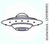 ufo  flying saucer vector line... | Shutterstock .eps vector #1249385491