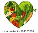 vegetables in heart shape  ... | Shutterstock .eps vector #124939259