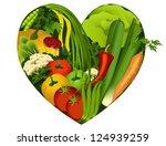 vegetables in heart shape  ... | Shutterstock .eps vector #124939259