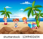 happy kids sitting on the sand... | Shutterstock .eps vector #1249402654