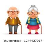 happy cute old man lady... | Shutterstock . vector #1249427017