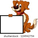 Cute Dog Cartoon Holding Blank...