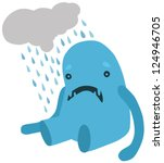 upset blue monster with a rainy ... | Shutterstock .eps vector #124946705