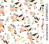 seamless pattern with cute cows ... | Shutterstock .eps vector #1249488511