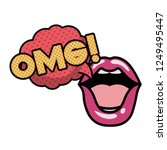 lips saying omg avatar character | Shutterstock .eps vector #1249495447