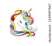 beautiful head of a unicorn....   Shutterstock . vector #1249497967