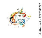 beautiful head of a unicorn....   Shutterstock . vector #1249501777
