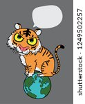 tiger sitting on the world ... | Shutterstock .eps vector #1249502257