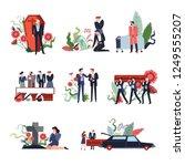 funeral ceremony people sad... | Shutterstock .eps vector #1249555207