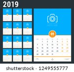 wall calendar template for 2019 ... | Shutterstock .eps vector #1249555777