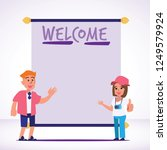 foreigner tourist with welcome... | Shutterstock .eps vector #1249579924