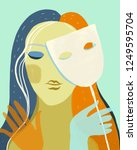 artwork of woman holding a mask ... | Shutterstock .eps vector #1249595704