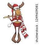 christmas deer  postcard banner ...   Shutterstock . vector #1249609081