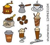 illustration of coffee drinks... | Shutterstock .eps vector #1249631104