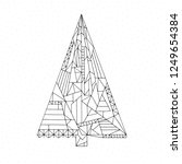 christmas tree coloring page.... | Shutterstock .eps vector #1249654384