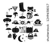 thunderstorm icons set. simple... | Shutterstock .eps vector #1249658017