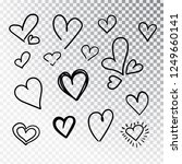 hearts hand drawn set isolated. ... | Shutterstock .eps vector #1249660141