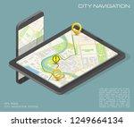 isometry city map navigation... | Shutterstock . vector #1249664134