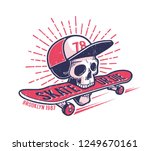cool youth skateboarding... | Shutterstock .eps vector #1249670161