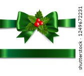 green ribbon bow with holly... | Shutterstock . vector #1249672231