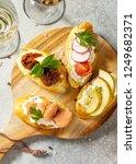 italian antipasti snacks set... | Shutterstock . vector #1249682371