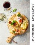 italian antipasti snacks set... | Shutterstock . vector #1249682497