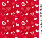 pattern of red hearts on a red... | Shutterstock .eps vector #124968587