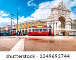 lisbon portugal. colorful... | Shutterstock . vector #1249693744