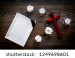 funeral. mockup of portrait of... | Shutterstock . vector #1249698601