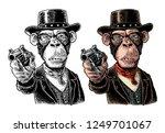 monkey gentleman holding a... | Shutterstock .eps vector #1249701067