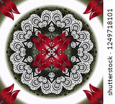 hand drawn vector mandala with... | Shutterstock .eps vector #1249718101