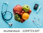 selective focus of fruits and... | Shutterstock . vector #1249721107