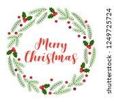 christmas wreath with fir...   Shutterstock .eps vector #1249725724