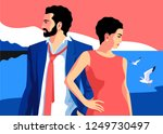 summer holidays. couple in love ... | Shutterstock .eps vector #1249730497